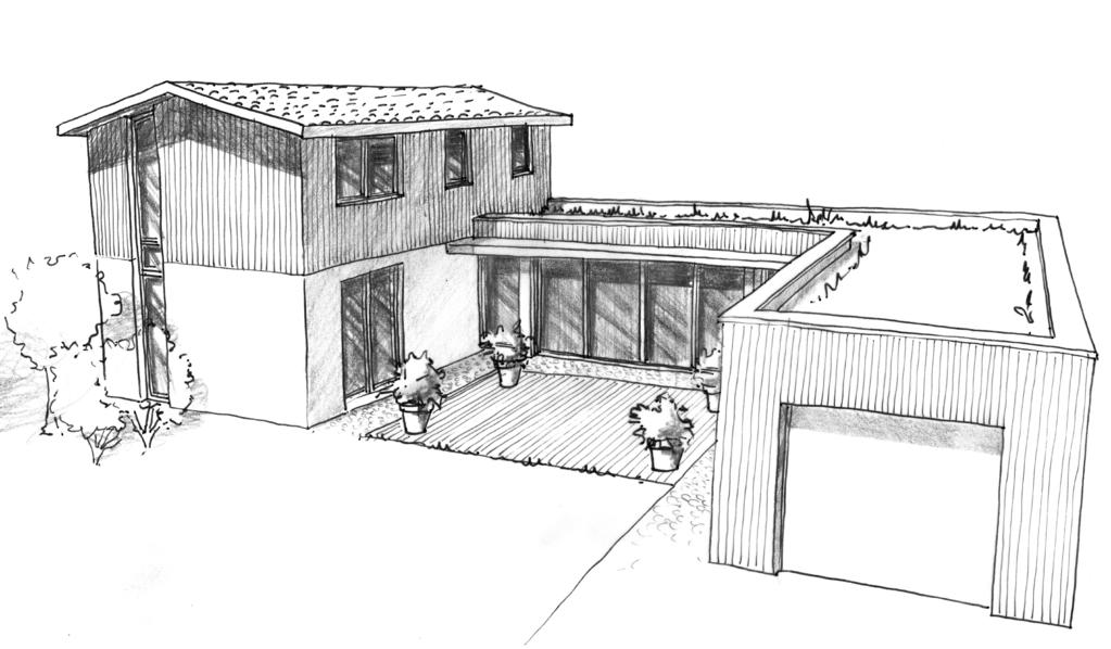 Plan maison moderne en u ooreka for Dessin 3d maison