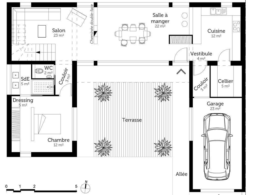 Plan maison moderne en u ooreka for Maison en u moderne