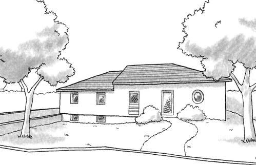 plan maison de plain pied sur terrain en pente ooreka. Black Bedroom Furniture Sets. Home Design Ideas