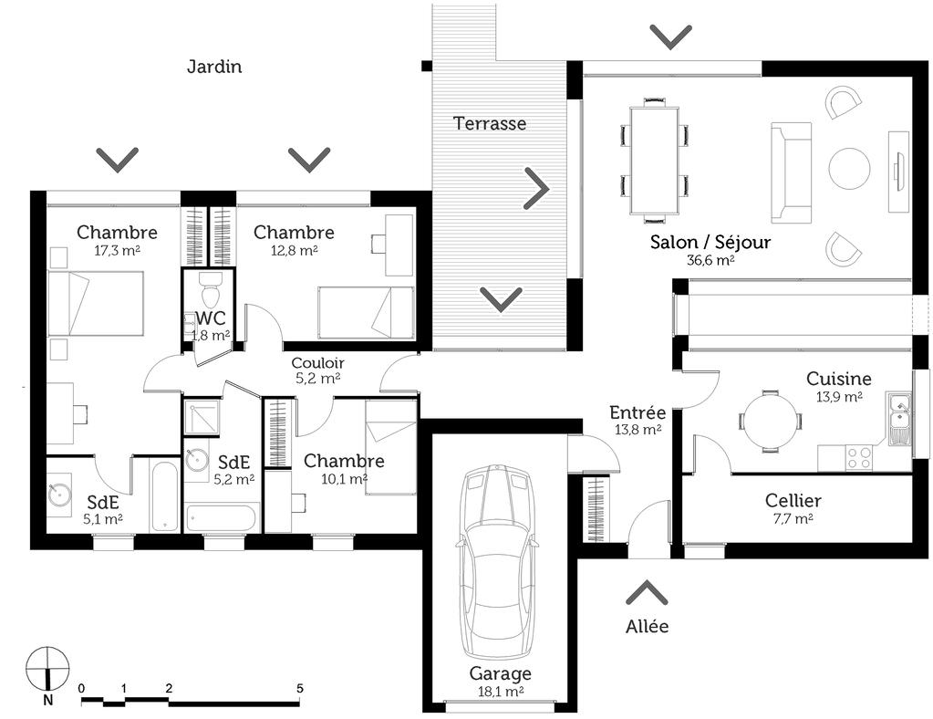 Plan maison toit plat crea06 maison toit plat plan de - Plan maison toit terrasse ...