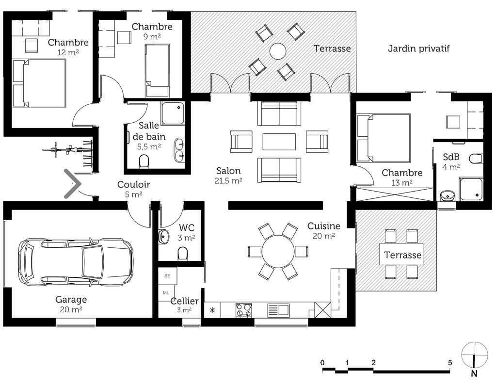 Plan maison de plain pied avec garage ooreka for Plan de garage