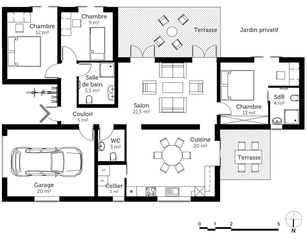 Plan maison de plain pied avec garage ooreka for Maison l plan