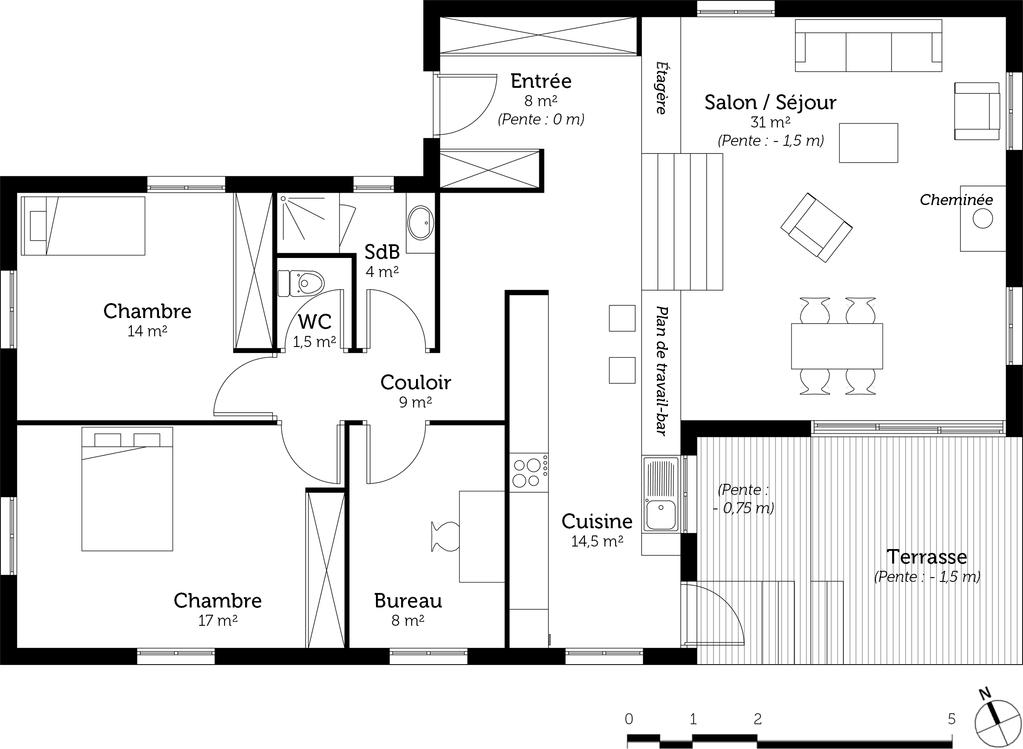 plan de maison un etage et demi