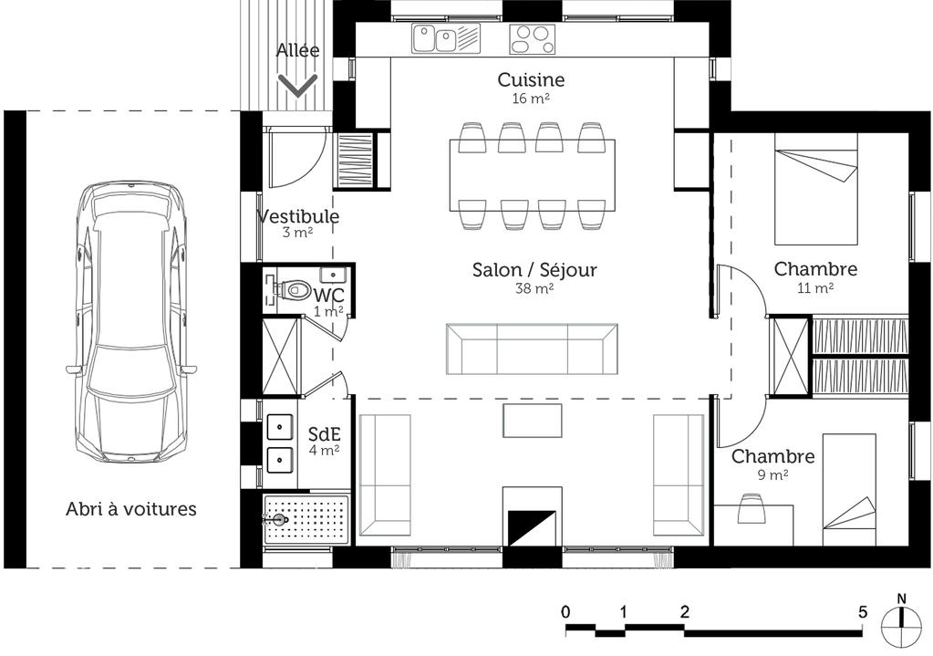 Plan maison 80 m avec 2 chambres ooreka for Plan petite maison 3 chambres