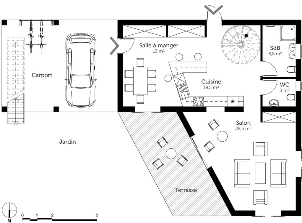 Plan maison en v toit plat ooreka for Plan de maison toit terrasse