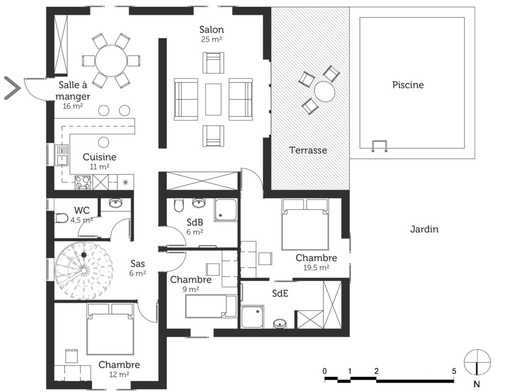 Plan maison moderne avec piscine - Ooreka