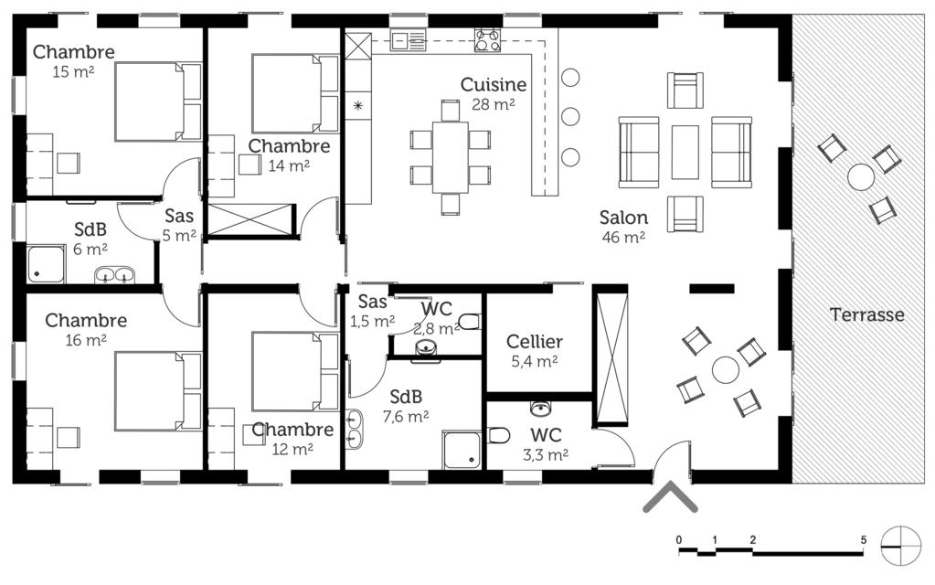 plan de maison plain pied 4 chambres