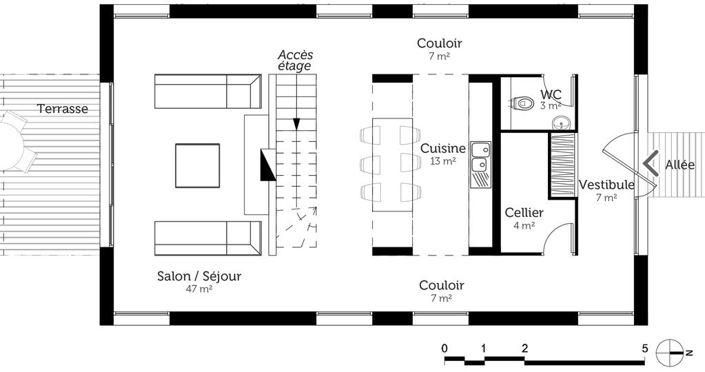 Plan maison tage avec balcon ooreka for Salle a manger 10m2