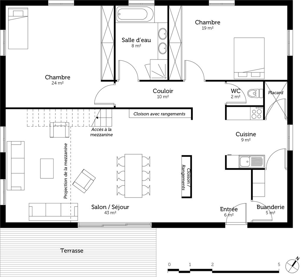 plan de maison 130 m avec mezzanine ooreka. Black Bedroom Furniture Sets. Home Design Ideas