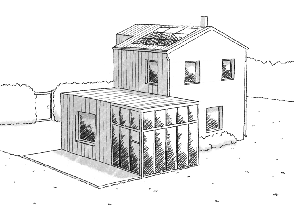 plan maison 110 m avec v randa ooreka. Black Bedroom Furniture Sets. Home Design Ideas