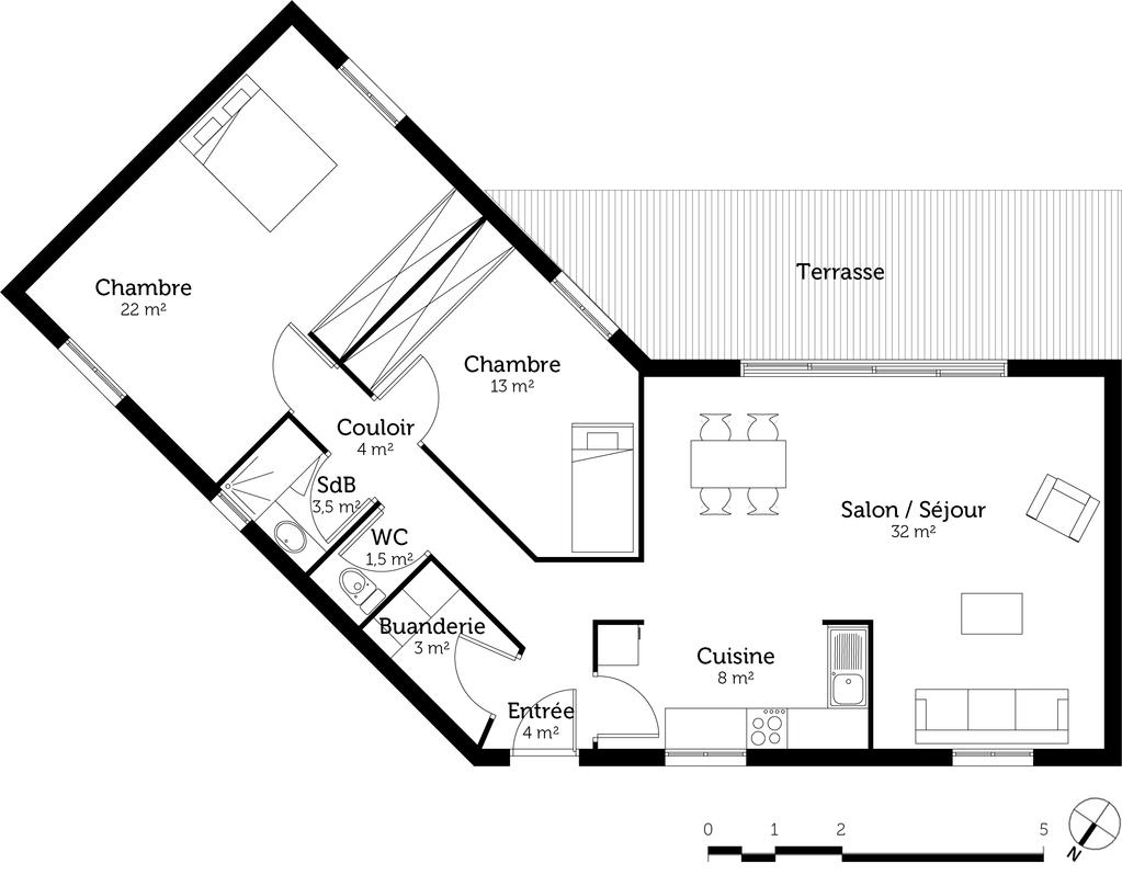 Plan maison toit plat 90 m ooreka for Plan type de maison