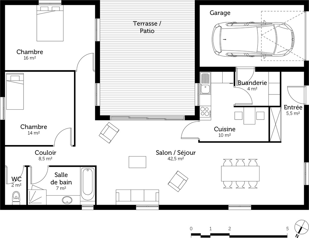 Plan maison en u avec 2 chambres ooreka for Plans de maison services d architecture