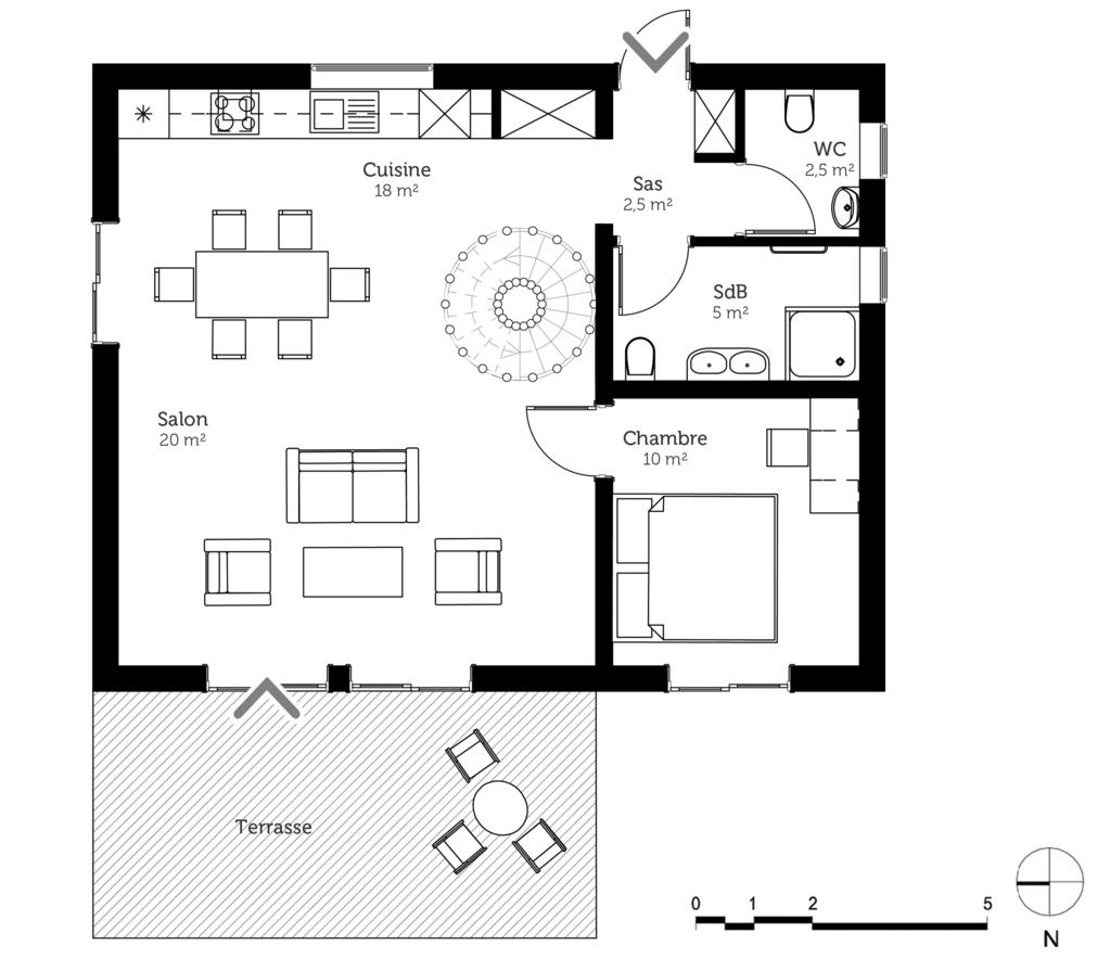 maison de 70 m avec mezzanine pauline hgaret esquisse 3d du plan 70 m - Plan De Maison Avec Mezzanine