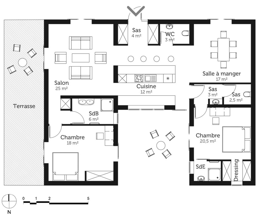 plan maison 120 m avec 3 pi ces ooreka. Black Bedroom Furniture Sets. Home Design Ideas