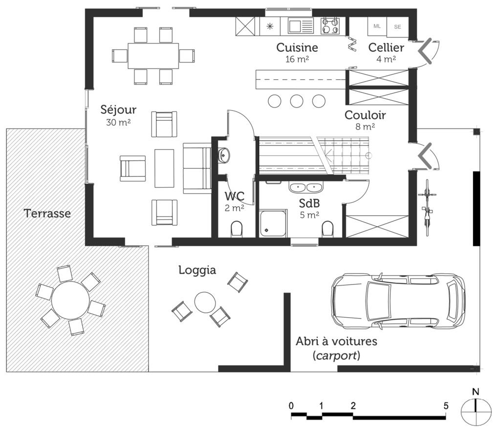 Plan maison 130 m terrasse ooreka for Plan maison terrasse