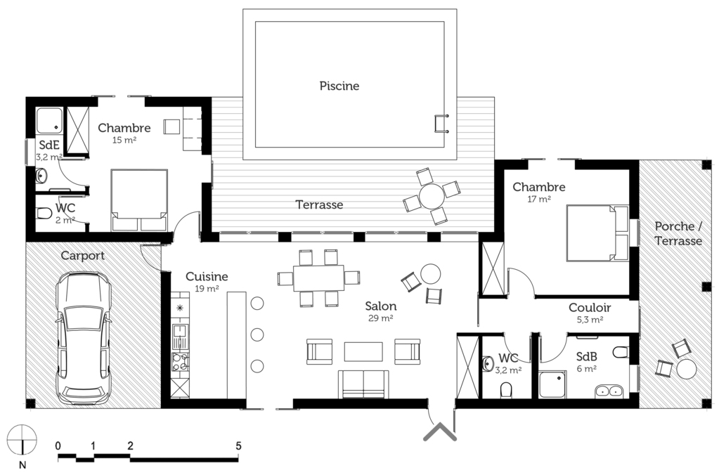 Plan maison en u de plain pied ooreka for Plan maison contemporaine 100m2