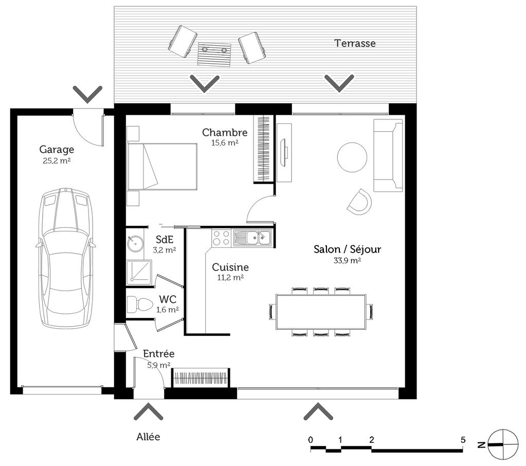 Plan maison 70 m avec 1 chambre ooreka - Plan maison simple 3 chambres ...