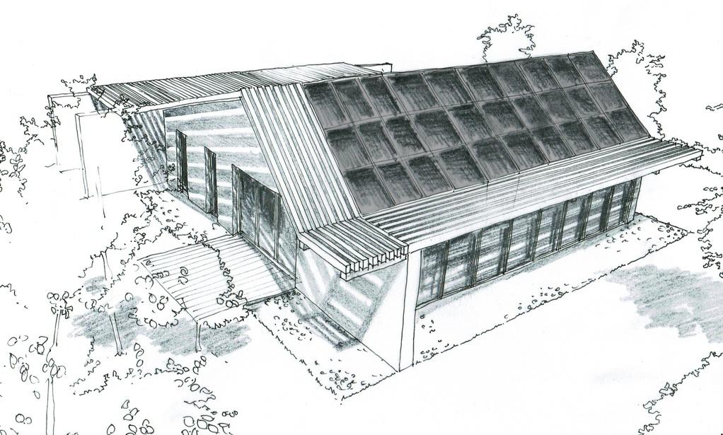 Esquisse 3D Plan de maison bioclimatique de plain-pied