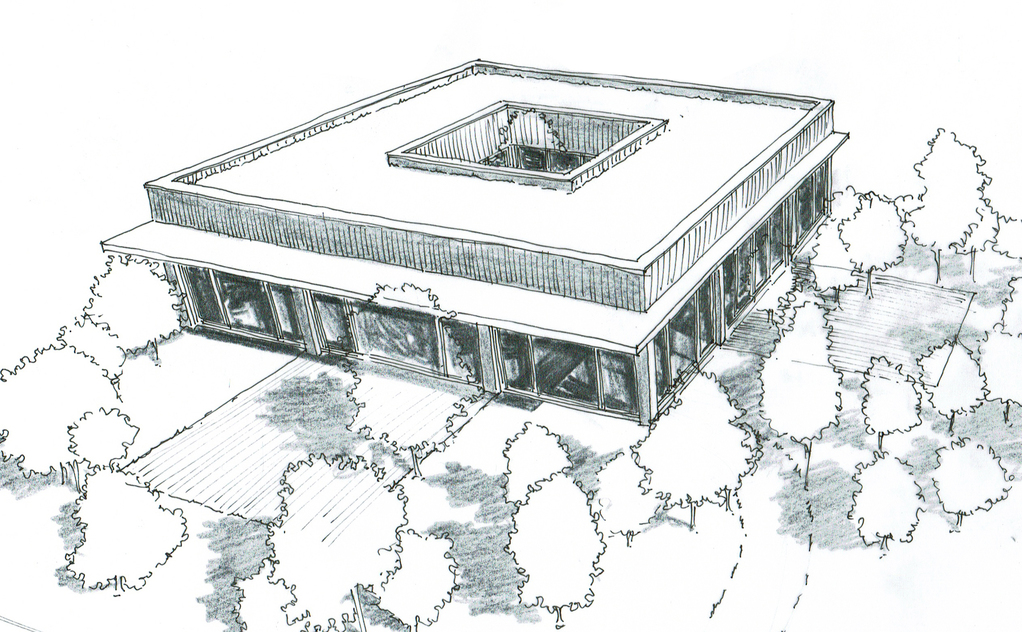 Plan maison à toit plat avec patio - Ooreka