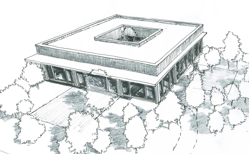 Esquisse 3D Plan de maison cubique avec patio