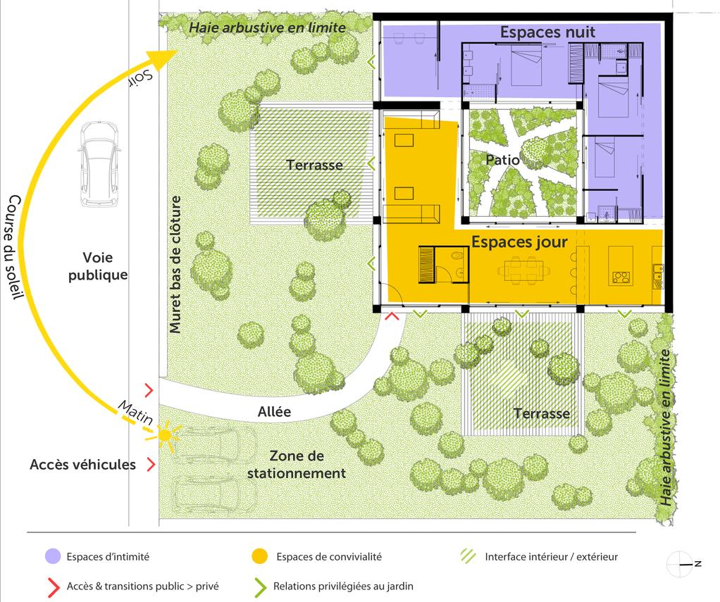 Plan maison toit plat avec patio ooreka for Patio exterieur plan