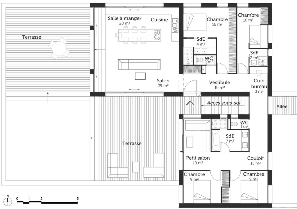 plan de maison avec sous sol complet