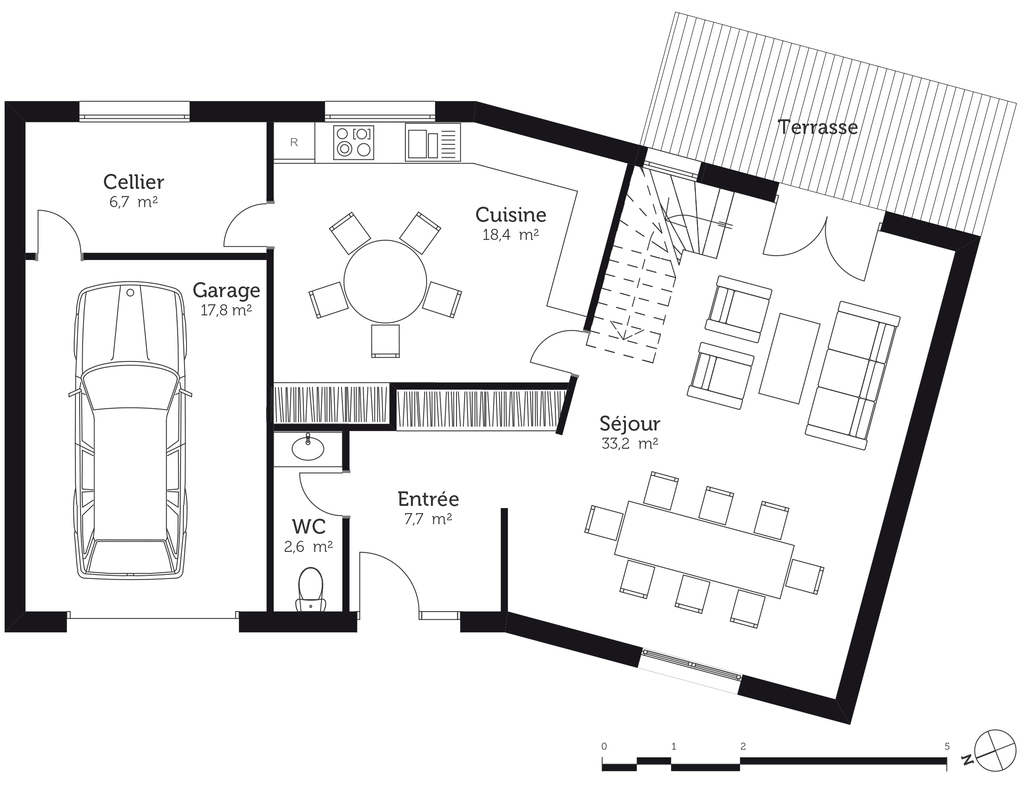 plan de maison en v avec garage