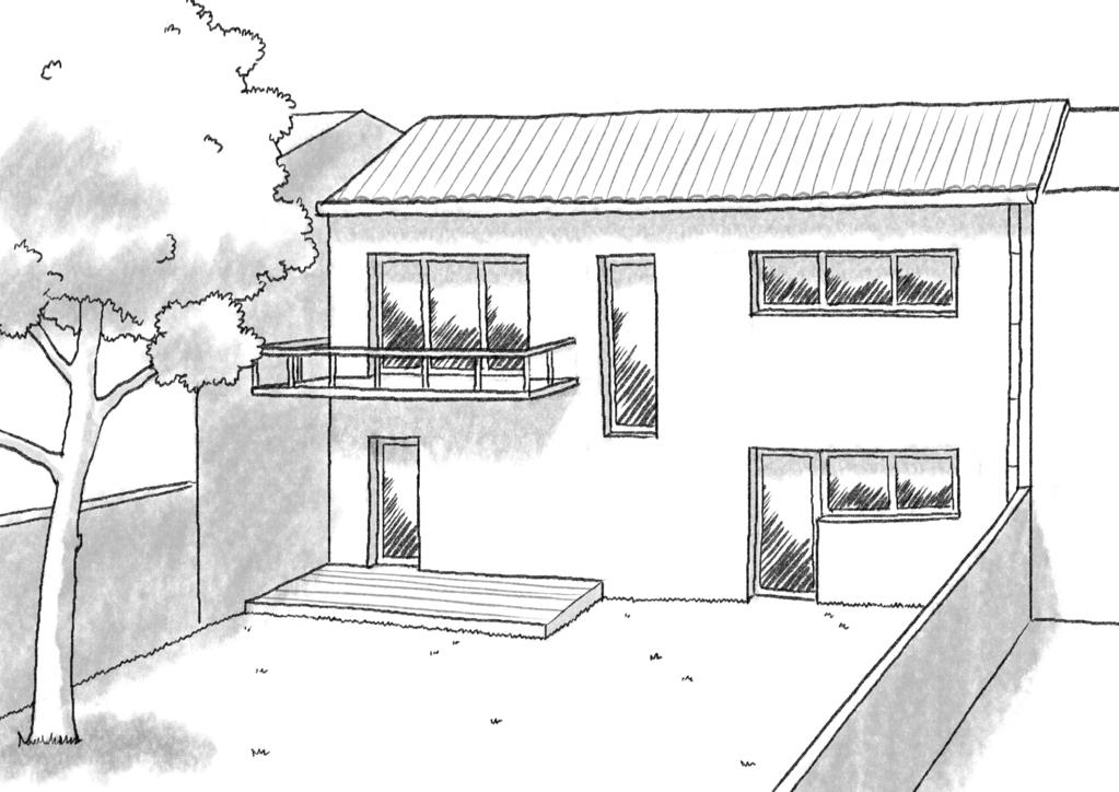 Esquisse 3D Plan de maison de 115 m² avec balcon