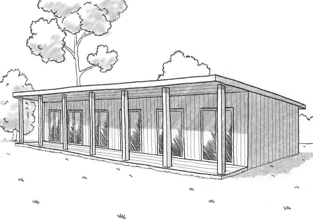 Esquisse 3D Plan de maison contemporaine de 70 m²