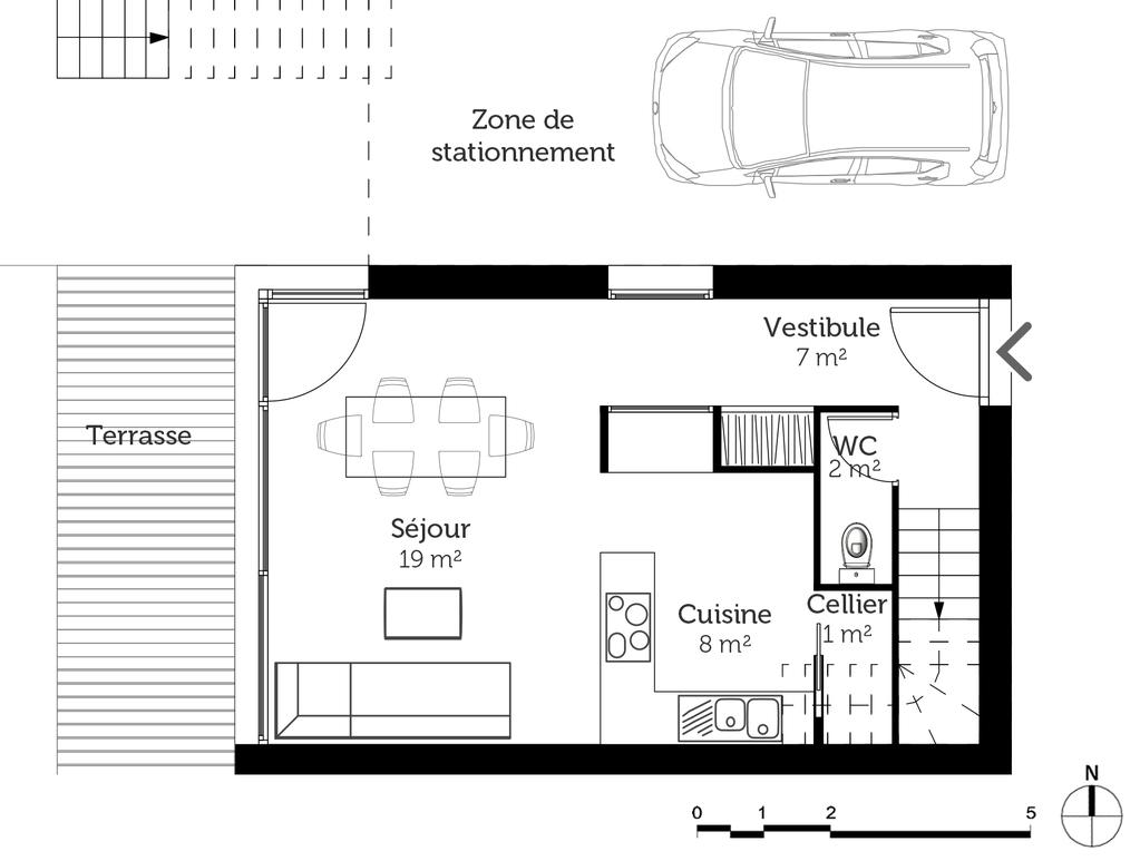 Plan maison de ville avec balcon ooreka for Vert urbain maison de ville