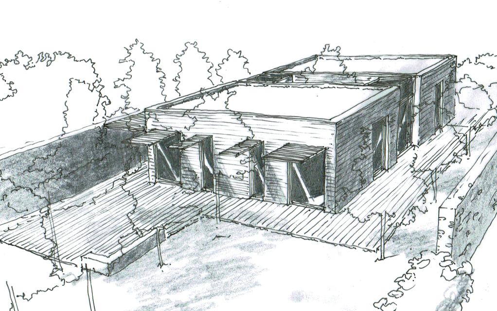 Esquisse 3D Plan de maison rectangulaire avec patio