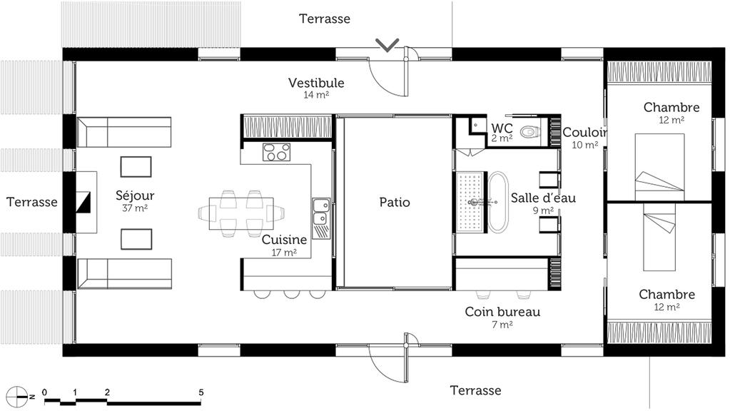 Plan Maison Rectangulaire Avec Patio - Ooreka