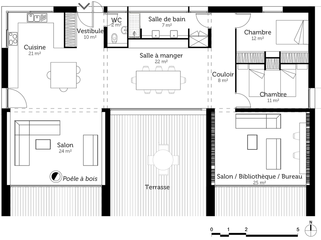 Plan de maison en u avec terrasse ooreka for Plan de maison en u