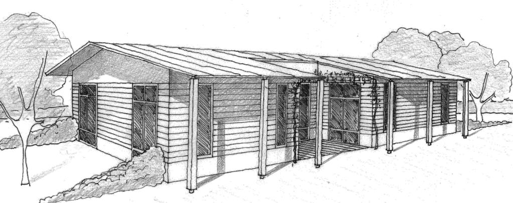 Esquisse 3D Plan de maison de 120 m² avec terrasse