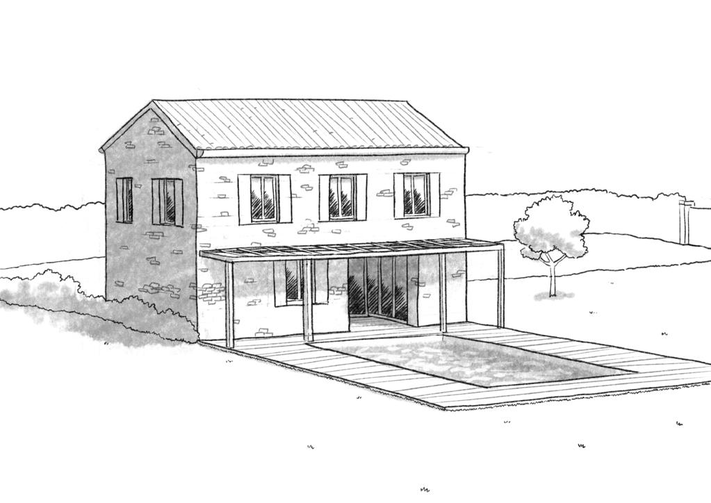 Esquisse 3D Plan de maison en pierre de 120 m²