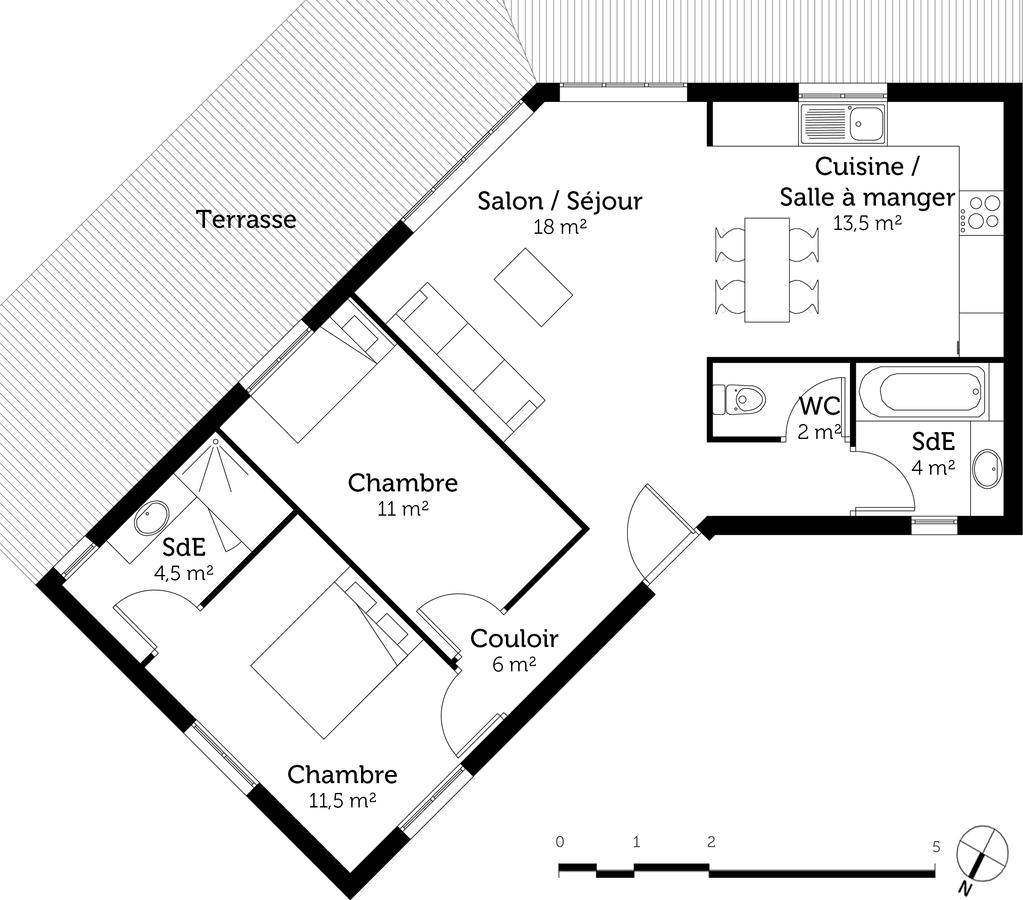 plan maison en v de 70 m ooreka. Black Bedroom Furniture Sets. Home Design Ideas