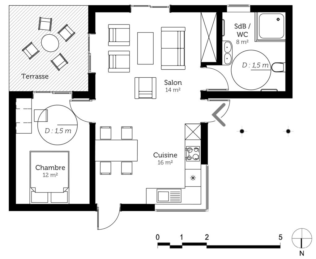 plan maison pmr 50 m ooreka. Black Bedroom Furniture Sets. Home Design Ideas