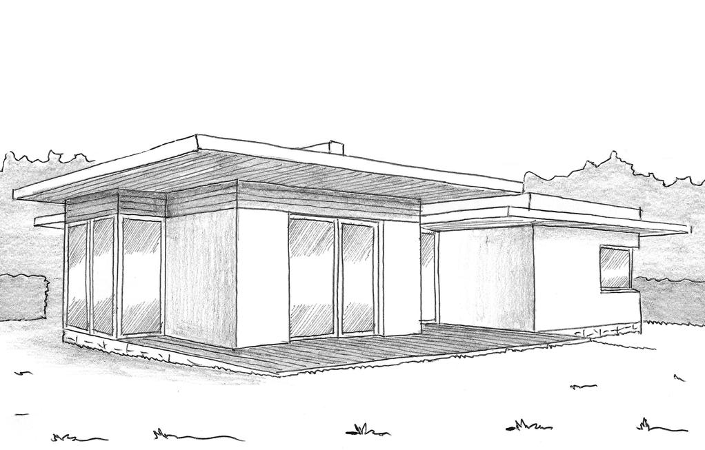 Merveilleux Esquisse 3D Plan De Maison à Toit Plat Avec Patio