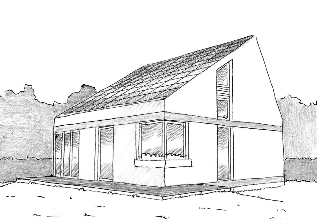 Esquisse 3D Plan de maison écologique de 90 m²