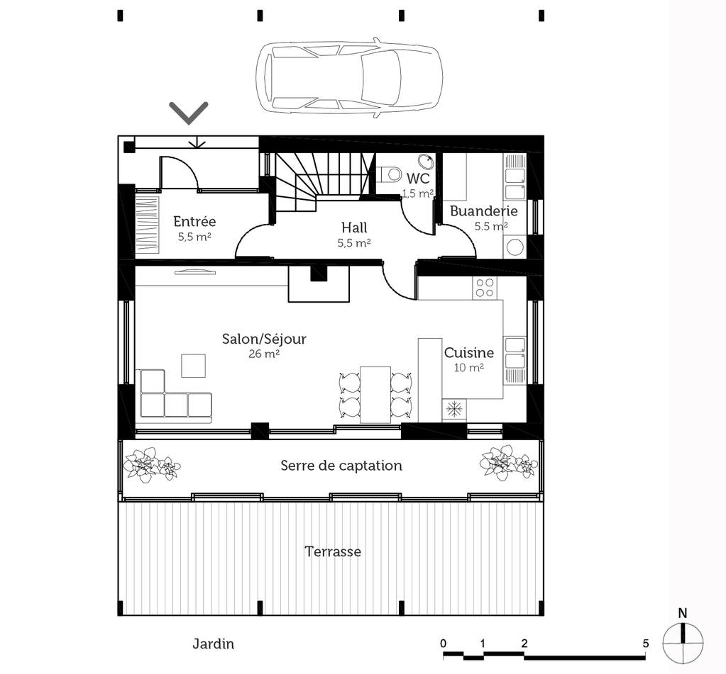 Plan maison tage bioclimatique ooreka for Plan maison passive