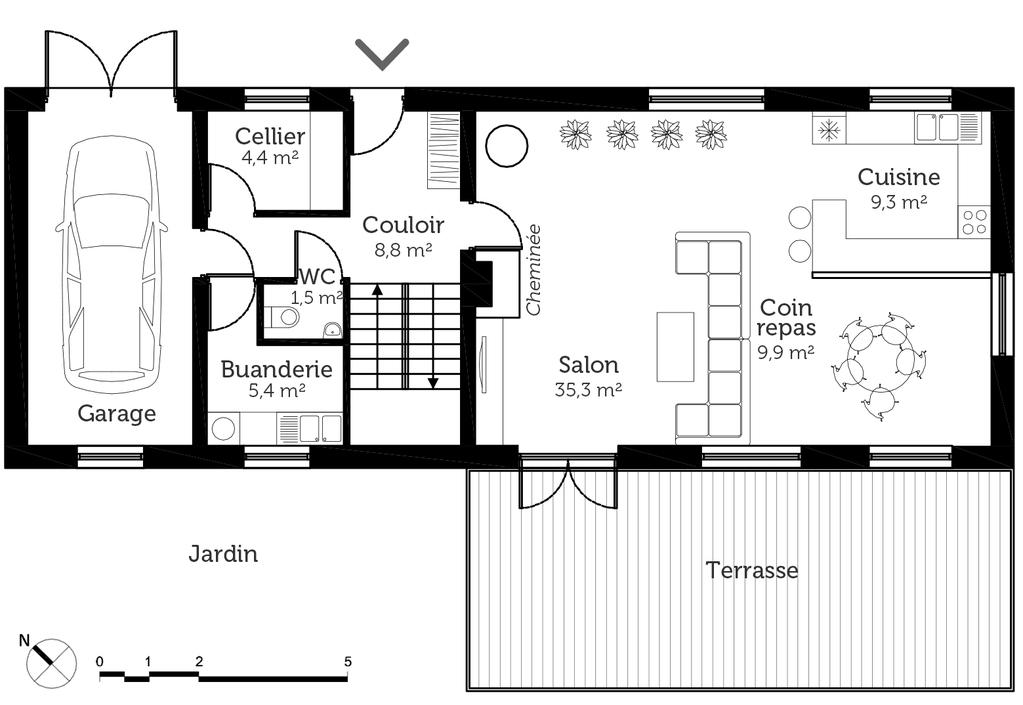 Plan maison rectangulaire 140 m ooreka for Plan cuisine rectangulaire