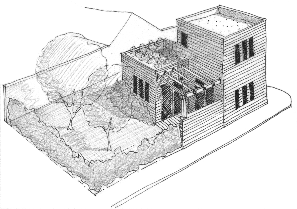 Esquisse 3D Plan de maison contemporaine de 50 m²