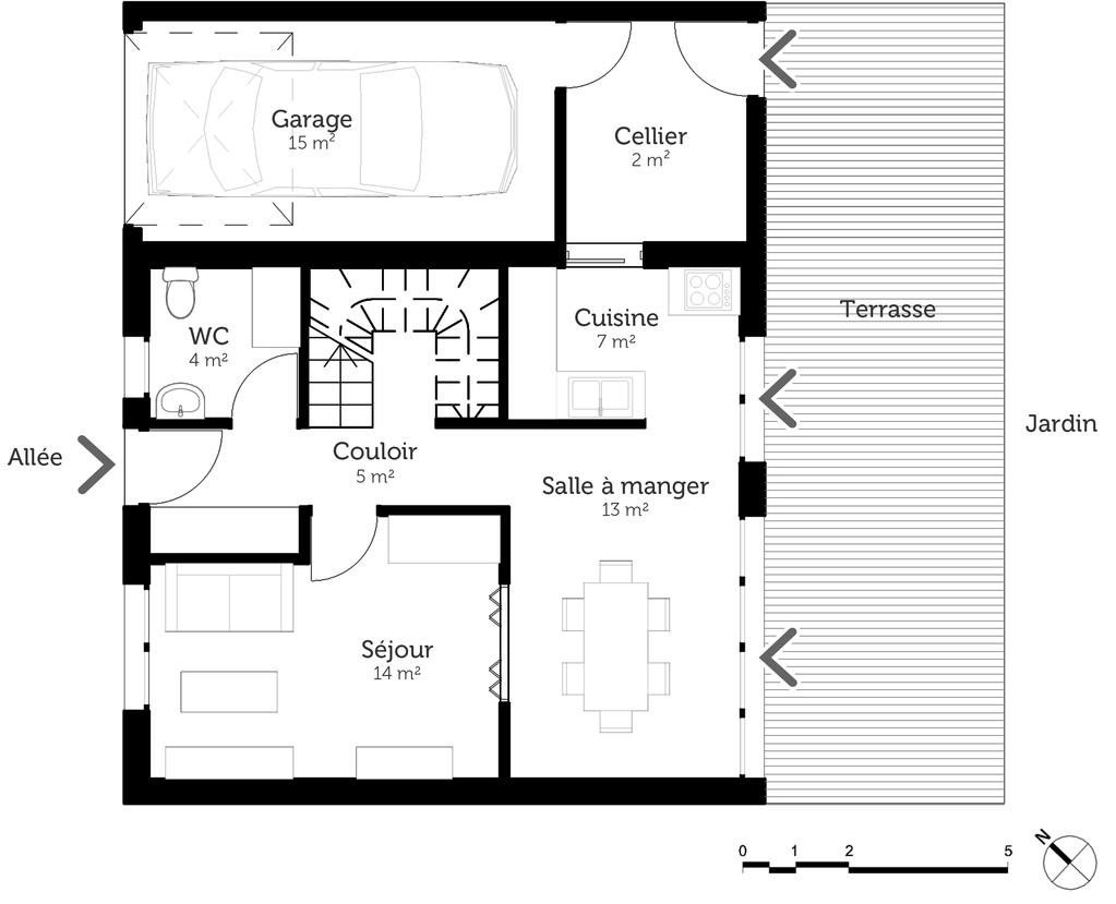 plan de maison 2 chambres salon + cuisine