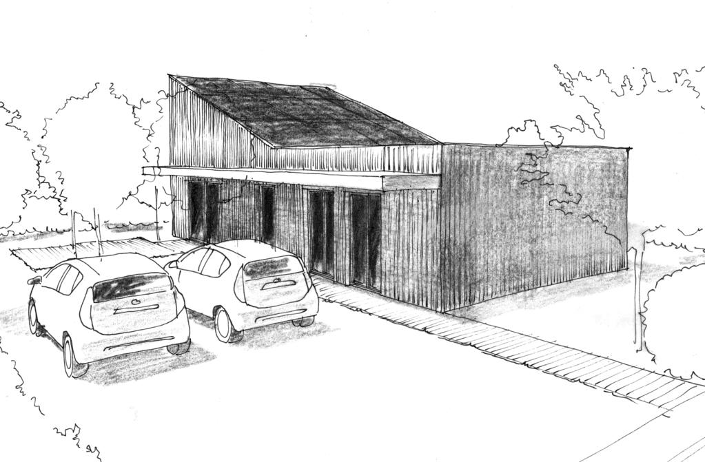 Esquisse 3D Plan de maison de plain-pied de 90 m² avec 3 chambres