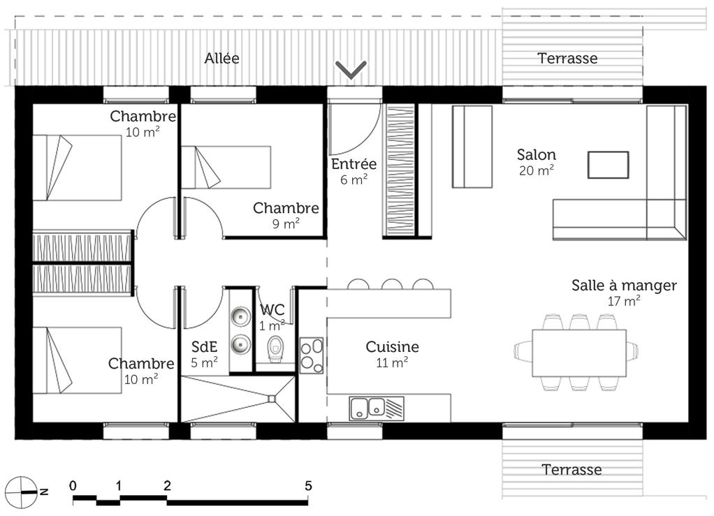 Plan De Maison PlainPied  M Avec  Chambres  Ooreka