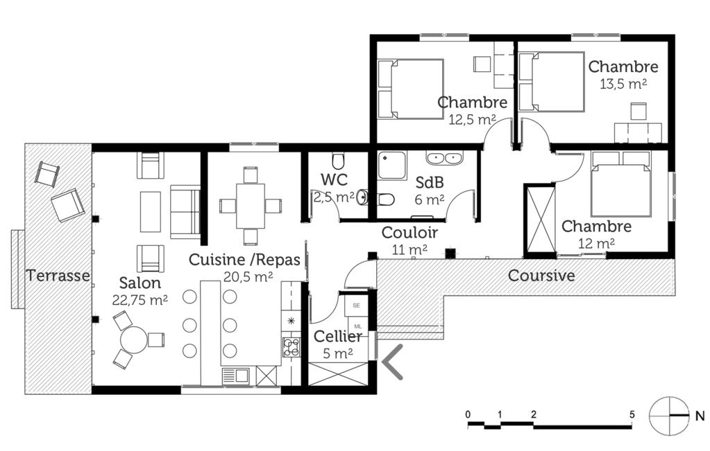 plan maison plain pied en l avec 3 chambres ooreka. Black Bedroom Furniture Sets. Home Design Ideas