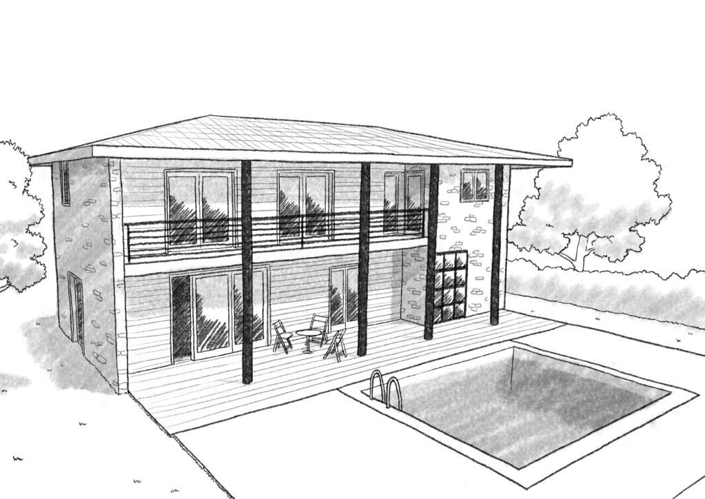 Esquisse 3D Plan de maison du Sud