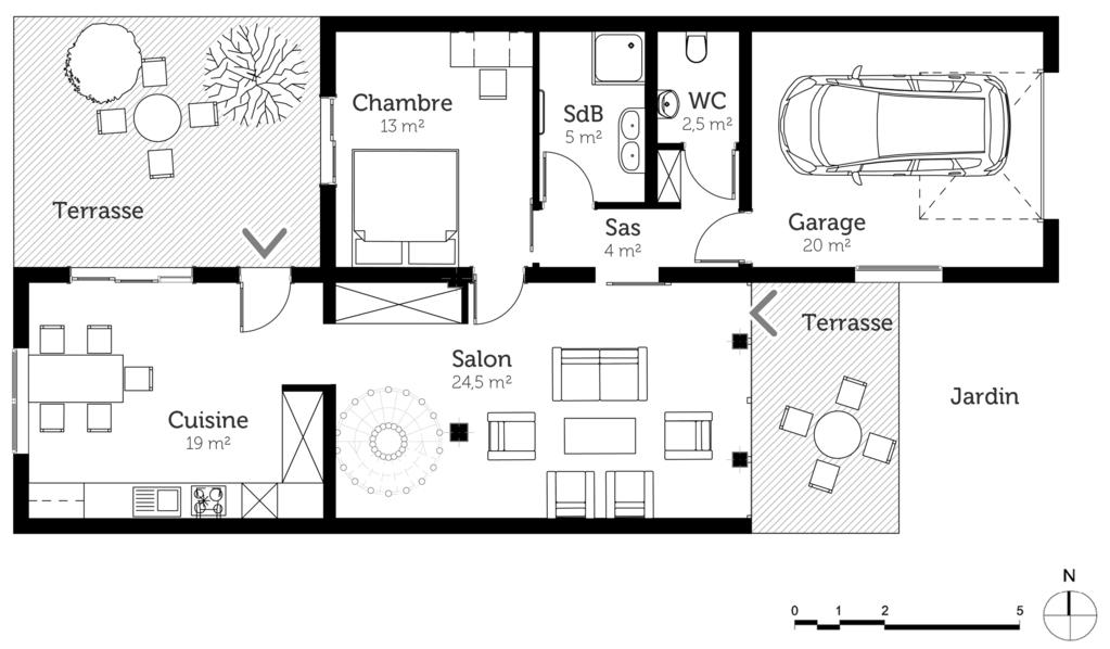 plan de maison duplex 5 chambres