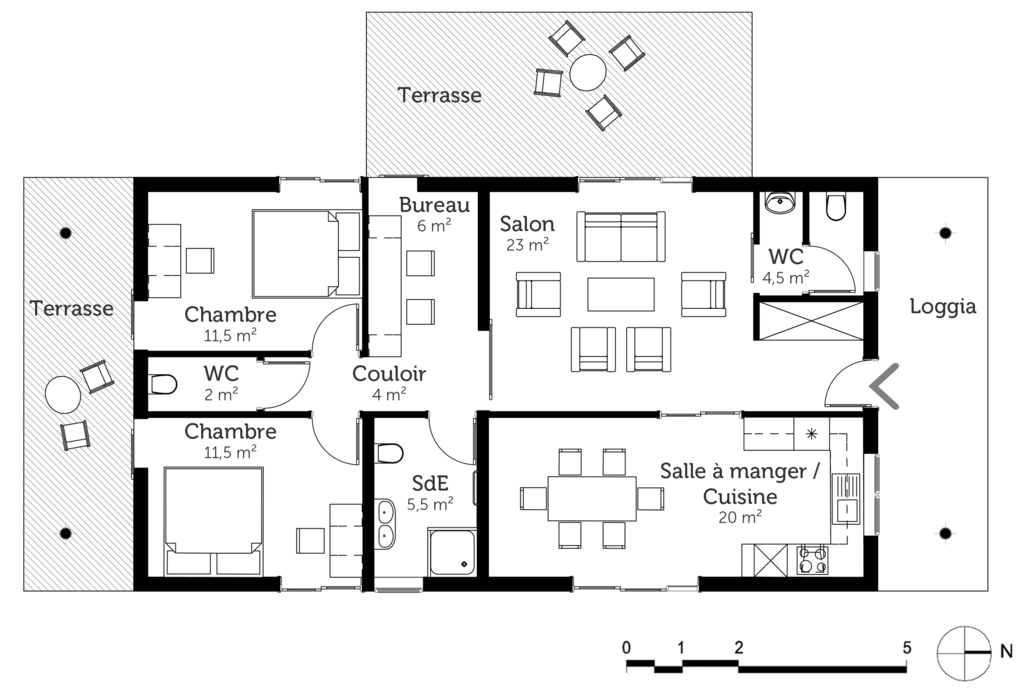 plan maison moderne toit plat de plain pied ooreka. Black Bedroom Furniture Sets. Home Design Ideas
