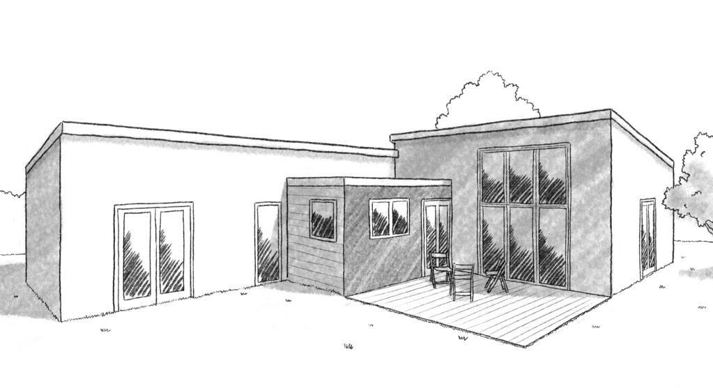 Esquisse 3D Plan de maison de plain-pied à ossature en bois